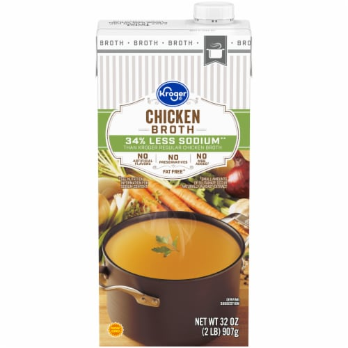 Kroger® 34% Less Sodium Chicken Broth Perspective: front
