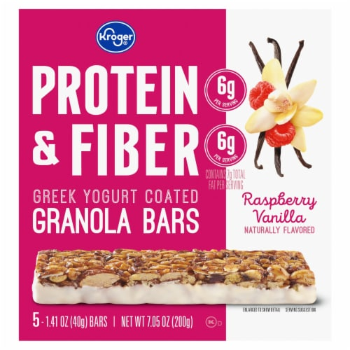 Kroger® Protein & Fiber Rasberry Vanilla Greek Yogurt Coated Granola Bars (5 Pack) Perspective: front