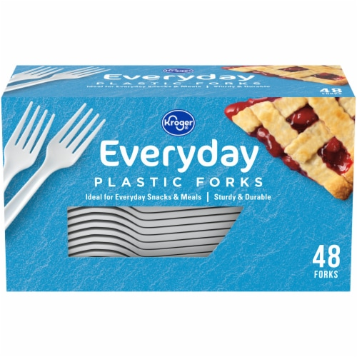 Kroger® Everyday Plastic Forks - White Perspective: front
