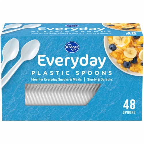 Kroger® Everyday Plastic Spoons - White Perspective: front