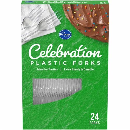 Kroger® Celebration Clear Plastic Forks Perspective: front