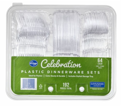 Kroger® Celebration Clear Plastic Dinnerware Sets Perspective: front