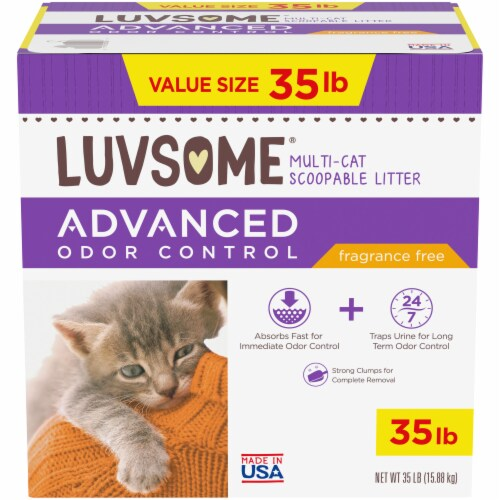 Luvsome® Advanced Odor Control Fragrance Free Multi-Cat Scoopable Litter Perspective: front