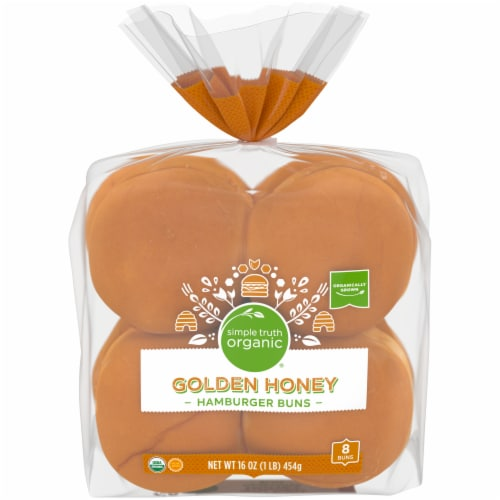 Simple Truth Organic™ Golden Honey Hamburger Buns 8 Count Perspective: front