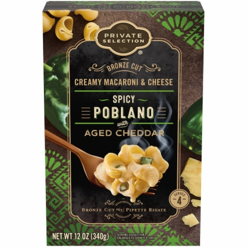 Private Selection® Bronze Cut Spicy Poblano with Aged Cheddar Creamy Macaroni & Cheese Perspective: front