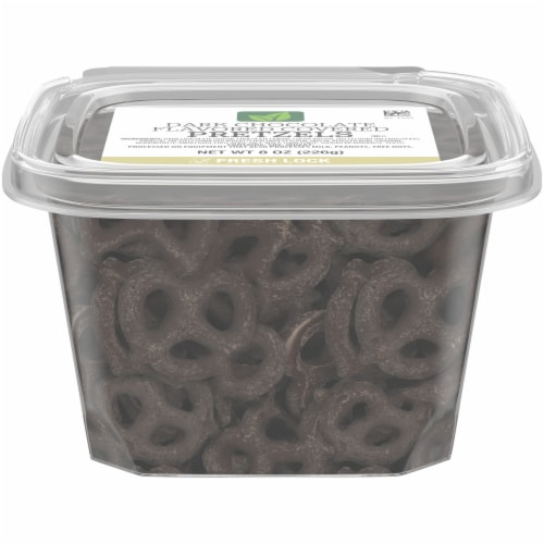 Dark Chocolate Flavored Covered Pretzels Perspective: front