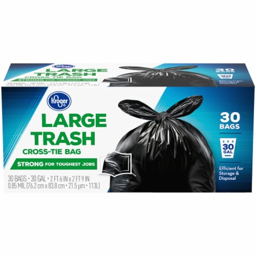 Kroger® Large Cross-Tie 30 Gallon Trash Bags Perspective: front