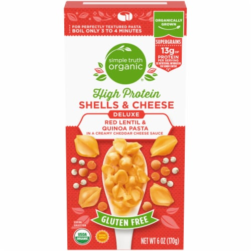 Simple Truth Organic® Gluten Free High Protein Red Lentil & Quinoa Pasta Shells & Cheese Perspective: front