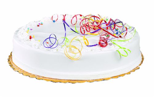 """Bakery Fresh Goodness 8"""" White 1-Layer Cake with White Whipped Satin Icing Perspective: front"""