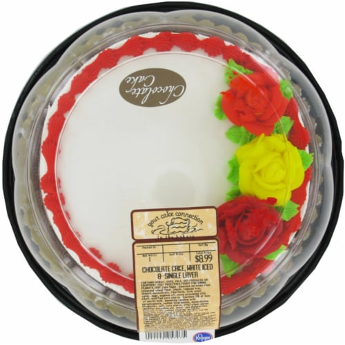 Bakery Chocolate Decorated White Simply Satin Cake Perspective: front