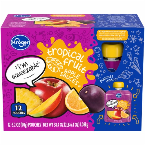 Kroger® Tropical Fruit Apple Sauce Pouches Perspective: front