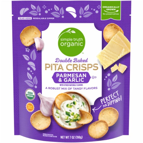 Simple Truth Organic™ Double Baked Parmesan & Garlic Pita Crisps Perspective: front