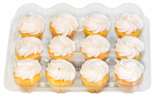 Bakery Fresh Goodness White Iced Yellow Cupcakes Perspective: front