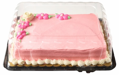 Bakery Fresh Goodness Rose and Daisy Raspberry Filling Sheet Cake Perspective: front
