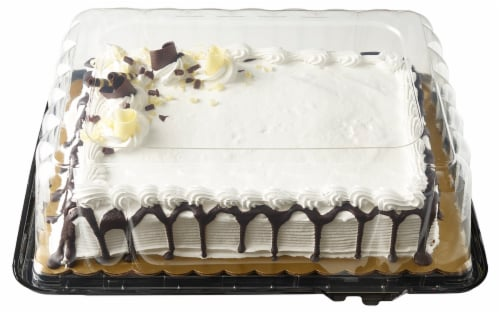 Bakery Fresh Goodness Chocolate Drip White Sheet Cake with Whippy Icing Perspective: front