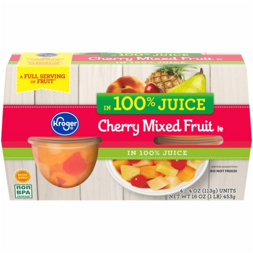 Kroger® Cherry Mixed Fruit Cups 4 Count Perspective: front