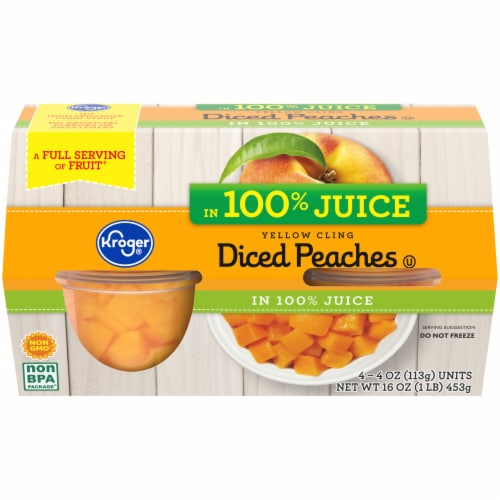 Kroger® Yellow Cling Diced Peach Cups Perspective: front
