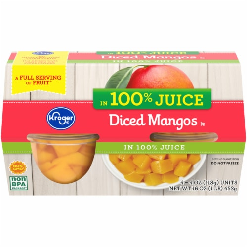 Kroger® 100% Juice Diced Mangos Cups 4 Count Perspective: front