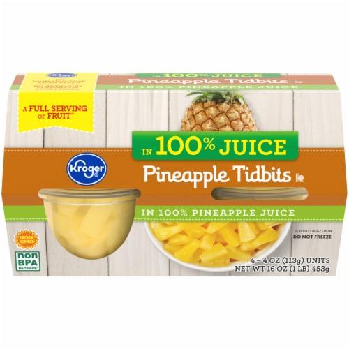 Kroger® Pineapple Tidbits in Pineapple Juice Perspective: front