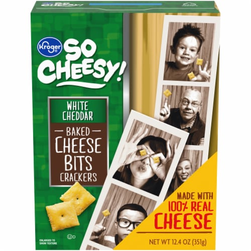 Kroger® White Cheddar Baked Cheese Bits Crackers Perspective: front