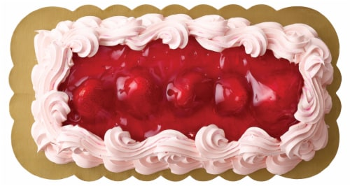 Bakery Fresh Goodness 1/16 Yellow Sheet Cake with Strawberries & Whipped Icing Perspective: front