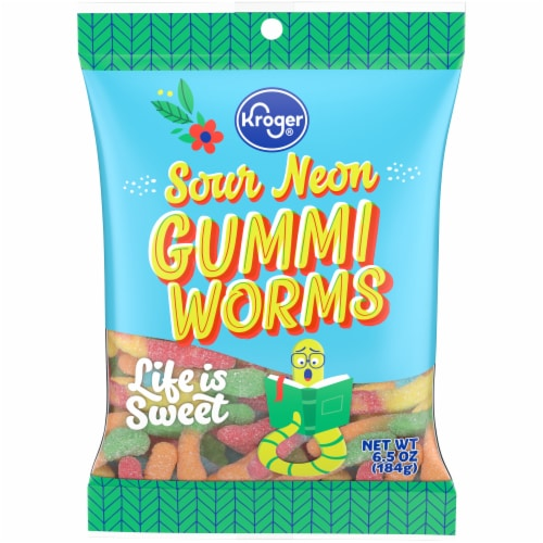 Kroger® Sour Neon Worms Perspective: front
