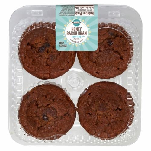 Bakery Fresh Goodness Honey Raisin Bran Muffins Perspective: front