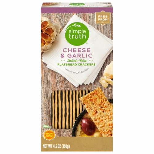 Simple Truth®  Cheese & Garlic Flatbread Crackers Perspective: front