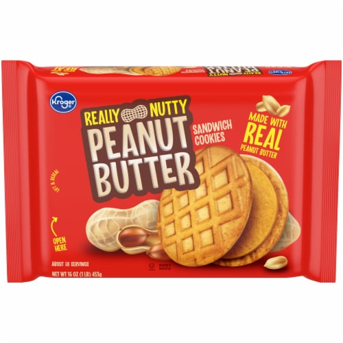Kroger® Really Nutty Peanut Butter Sandwich Cookies Perspective: front