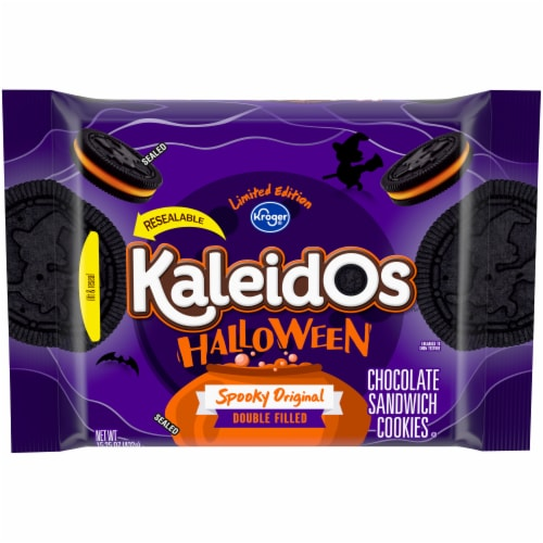 Kroger® Kaleidos™ Halloween Spooky Original Double Filled Chocolate Sandwich Cookies Perspective: front