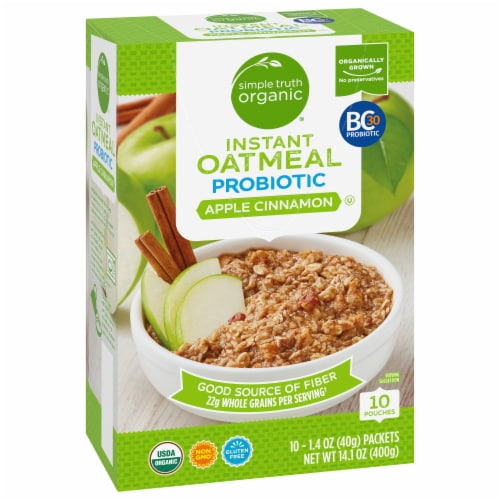 Simple Truth Organic® Probiotic Apple Cinnamon Instant Oatmeal Perspective: front