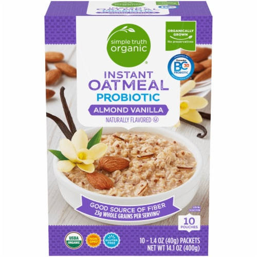 Simple Truth Organic Probiotic Almond Vanilla Instant Oatmeal Perspective: front