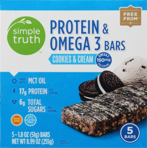 Simple Truth™ Cookies & Cream Protein & Omega 3 Bars Perspective: front