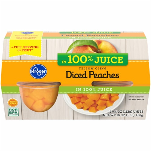 Kroger® Yellow Cling Diced Peaches Fruit Cups Perspective: front