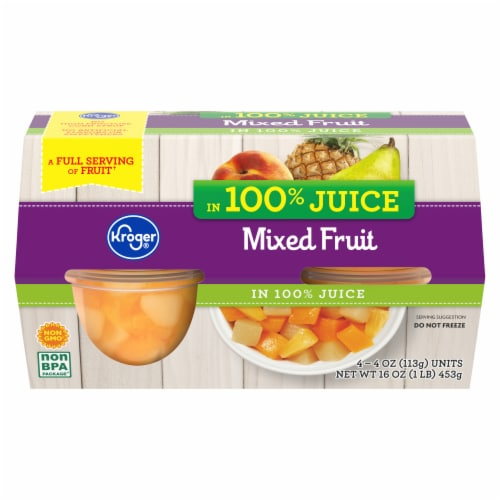 Kroger® Mixed Fruit in 100% Juice Fruit Cups Perspective: front