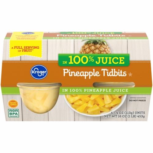 Kroger® 100% Juice Pineapple Tidbits Cups Perspective: front