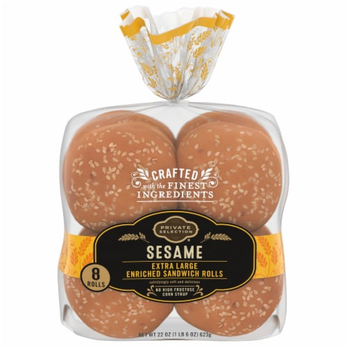 Private Selection® Sesame Extra Large Enriched Sandwich Rolls 8 Count Perspective: front