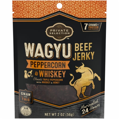 Private Selection™ Peppercorn & Whiskey Wagyu Beef Jerky Perspective: front