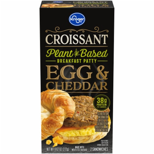 Kroger® Egg & Cheddar Croissant Plant-Based Breakfast Patty Perspective: front