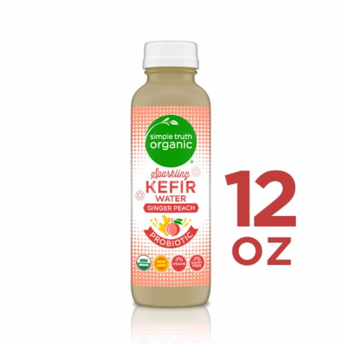 Simple Truth Organic™ Sparkling Probiotic Ginger Peach Kefir Water Drink Perspective: front