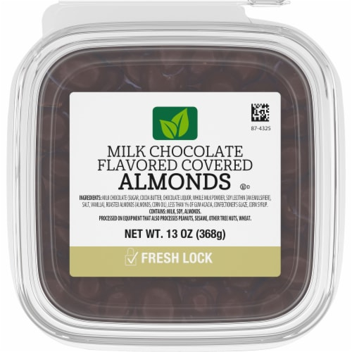 Kroger Milk Chocolate Flavored Covered Almonds Perspective: front