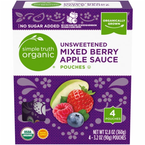 Simple Truth Organic® Unsweetened Mixed Berry Apple Sauce Pouches Perspective: front