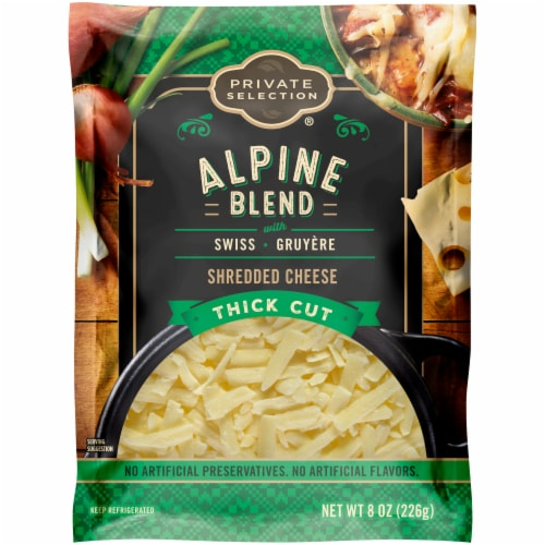 Private Selection® Alpine Blend Swiss & Gruyere Thick Cut Shredded Cheese Perspective: front