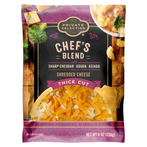 Private Selection® Chef's Blend Sharp Cheddar Gouda Asiago Thick Cut Shredded Cheese Perspective: front