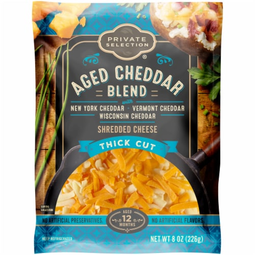 Private Selection® Aged Cheddar Blend Thick Cut Shredded Cheese Perspective: front
