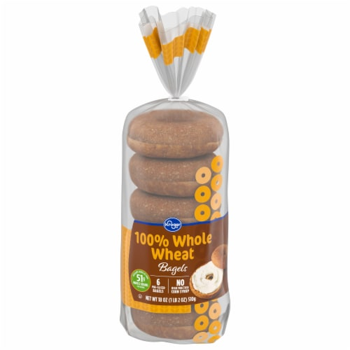 Kroger® 100% Whole Wheat Pre-Sliced Bagels Perspective: front