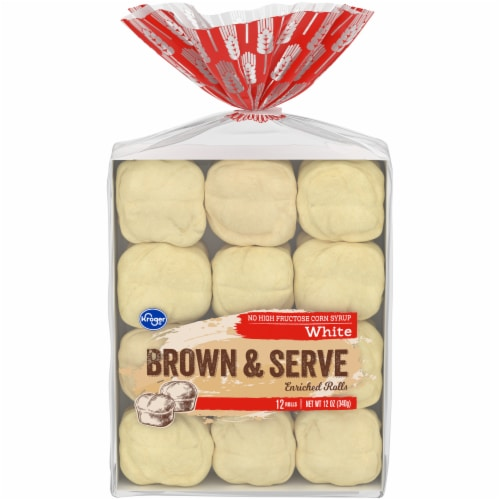 Kroger® White Brown & Serve Enriched Rolls - 12 Count Perspective: front