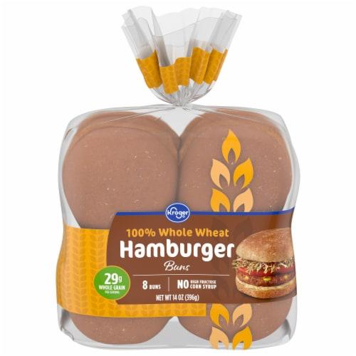 Kroger® 100% Whole Wheat Hamburger Buns Perspective: front