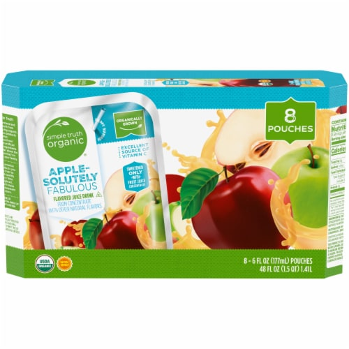 Simple Truth Organic® Apple-Solutely Fabulous Flavored Juice Drink Pouches Perspective: front