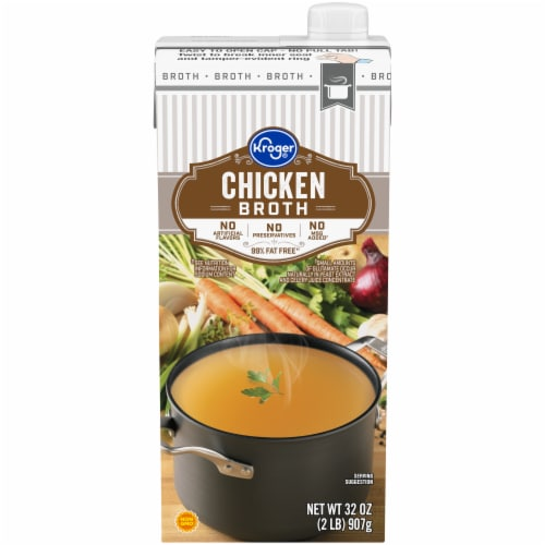Kroger® 99% Fat Free Chicken Broth Perspective: front